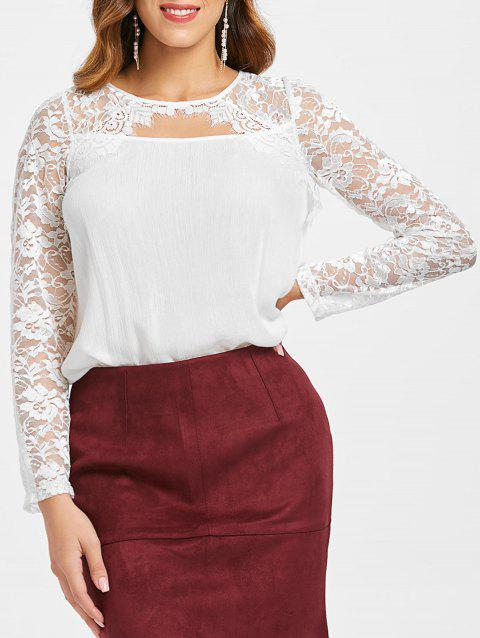 Sheer Lace Cut Out Back Tie Blouse - WHITE L