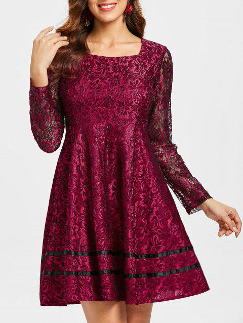 Long Sleeve Lace Flared Dress - RED WINE L