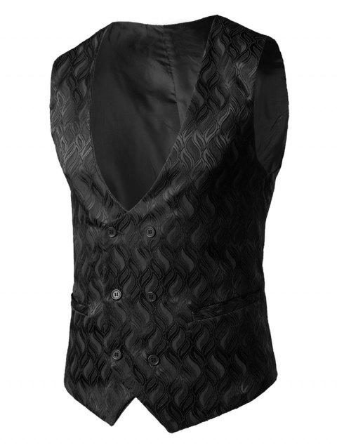 False Pocket Adjustable Back Belt Vest - BLACK M