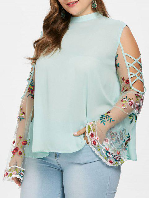 Plus Size Sheer Bell Sleeve Blouse - GREEN 4X