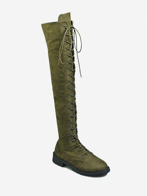 Plus Size Chic Low Heel Knee High Boots - FERN GREEN 39