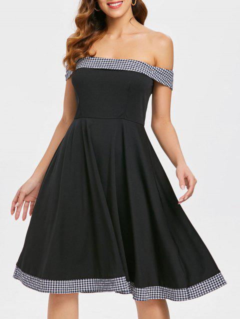 Off Shoulder Checked Fit and Flare Dress - BLACK XL