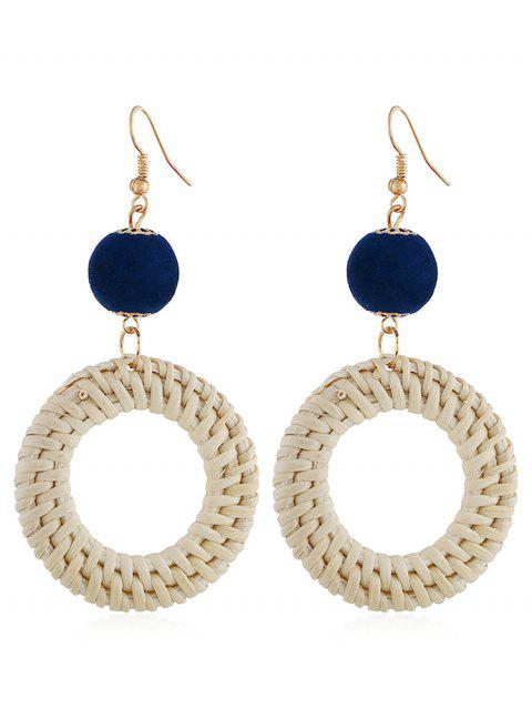 Ethnic Knitted Round Hook Earrings - BLUE