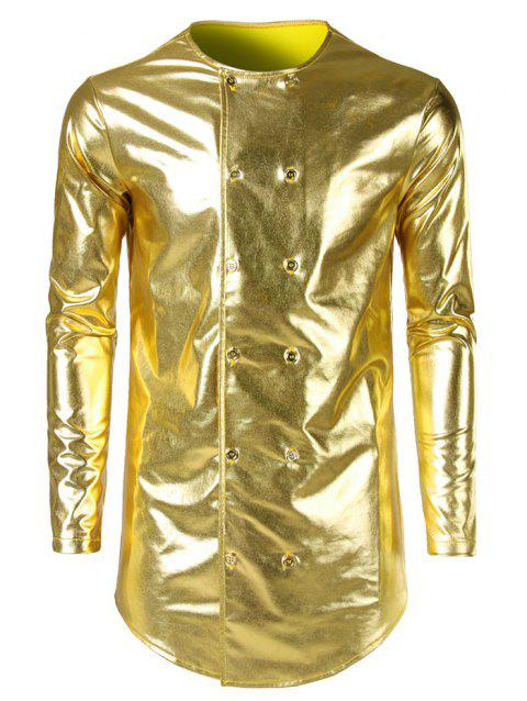 Costume Double Breasted Collarless Shiny Shirt - GOLDEN BROWN S