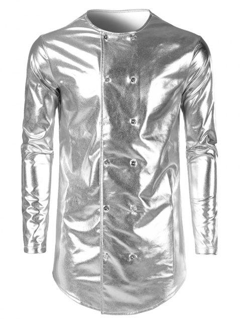 Costume Double Breasted Collarless Shiny Shirt - PLATINUM 2XL