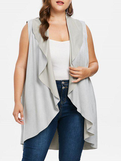 Plus Size High Low Draped Vest - LIGHT GRAY 4X