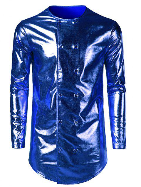 Costume Double Breasted Collarless Shiny Shirt - BLUE M