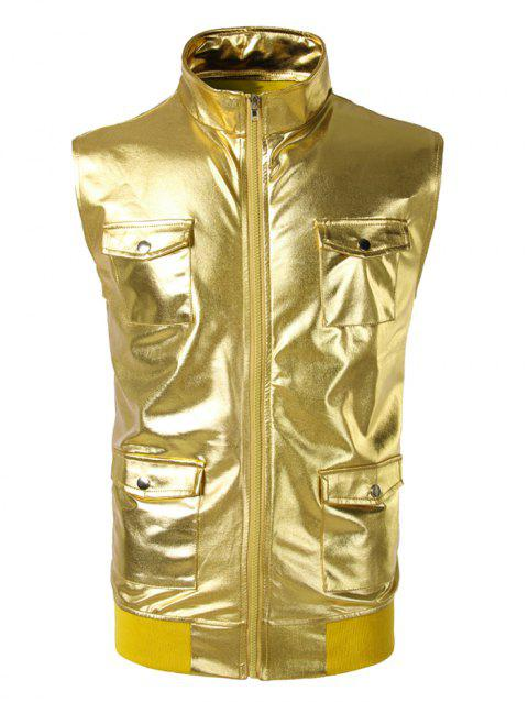 Costume Sleeveless Pockets Shiny Waistcoat - GOLDEN BROWN S