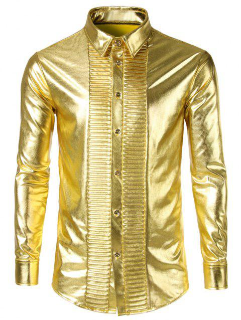 Night Club Style Front Pleated Design Shiny Shirt - GOLDEN BROWN XL