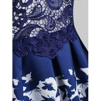 Lace Overlay Cocktail Butterflies Dress - BLUE L