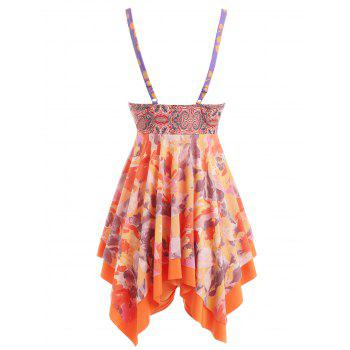 Printed Asymmetrical Push Up Tankini - ORANGE S