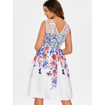Sheer Lace Fit and Flare Flower Dress - WHITE L