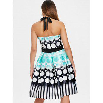 Circle Printed Backless Flare Dress - multicolor M