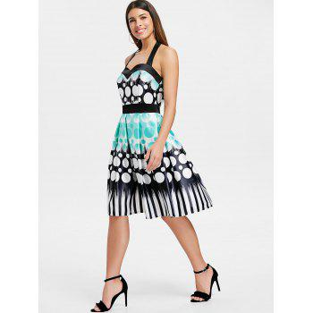 Circle Printed Backless Flare Dress - multicolor XL