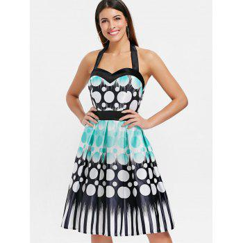 Circle Printed Backless Flare Dress - multicolor 2XL