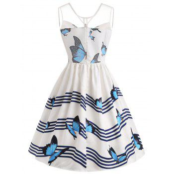 Butterfly River Printed Sleeveless Flared Dress - WHITE 2XL