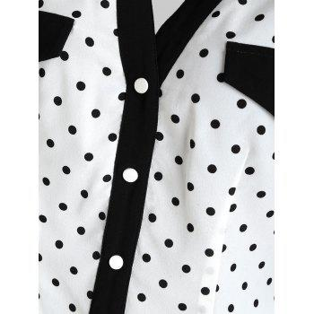 Polka Dot Button Up Sleeveless Blouse - multicolor S