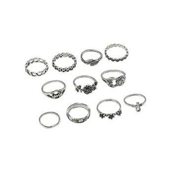 Leaves Floral Design Finger Rings Set - SILVER ONE-SIZE