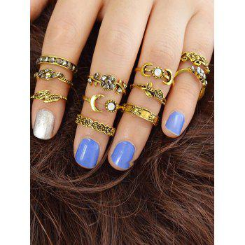 Alloy Flower Moon Design Rings Set - GOLD ONE-SIZE