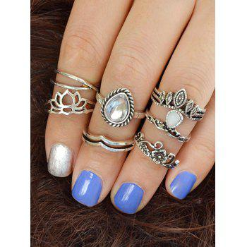 Hollow Flower Water Drop Design Rings Set - SILVER ONE-SIZE