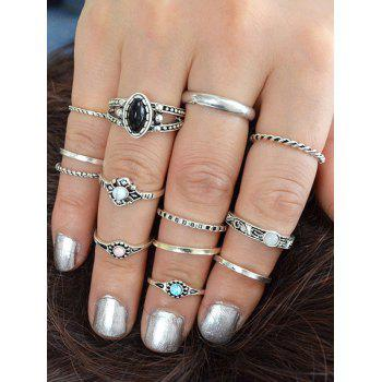 Simple Style Artificial Gem Rings Set - SILVER ONE-SIZE