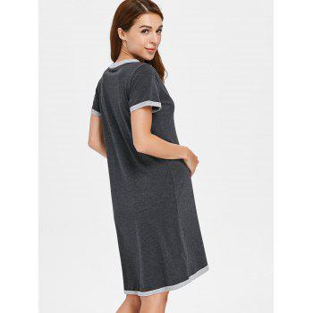 Short Sleeve Button Up Sleep Dress - GRAY 2XL