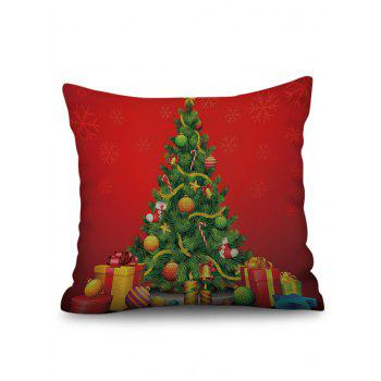 Christmas Tree Gift Box Print Sofa Linen Pillowcase - multicolor W17.5 INCH * L17.5 INCH