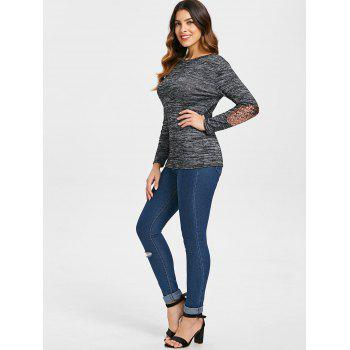 Sequined Patch Crew Neck Knitwear - DARK GRAY M