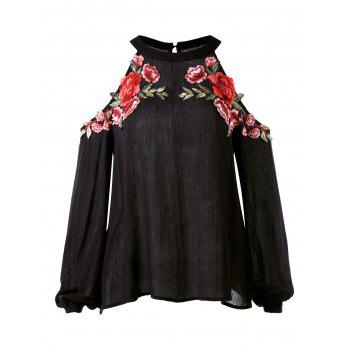 Floral Embroidery Long Sleeve Shoulder Cut Blouse - BLACK XL