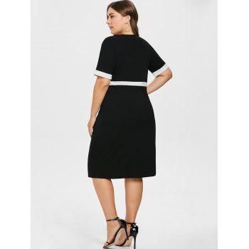Color Block Plus Size Bodycon Dress - BLACK 2X