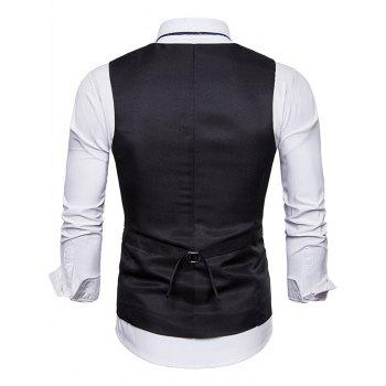 Solid Color Vertical Stitch Embellished Vest - BLACK 2XL