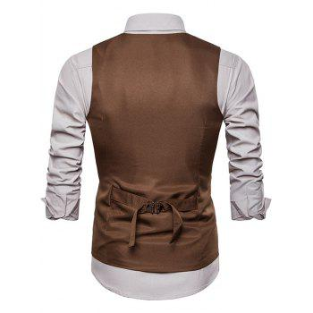 Single Breasted Adjustable Back Belt Vest - LIGHT KHAKI XL