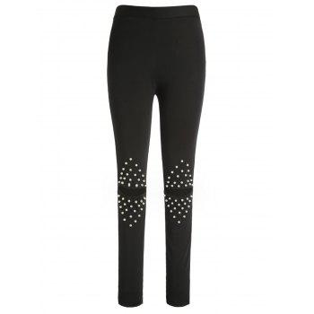 Torn Leggings with Faux Pearl Detail - BLACK L