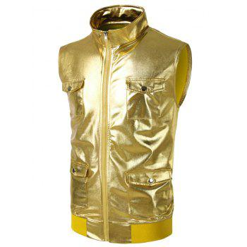 Costume Sleeveless Pockets Shiny Waistcoat - GOLDEN BROWN 2XL