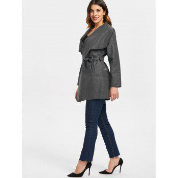 Wide Shawl Collar Coat with Pocket - CARBON GRAY XL