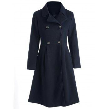 Double Breasted Skirted Coat - CADETBLUE M