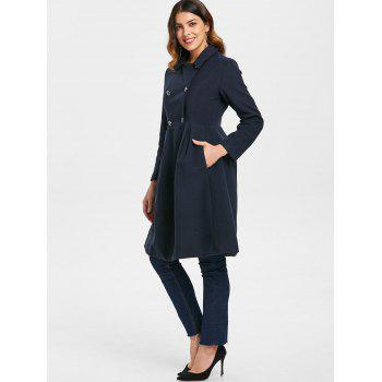 Double Breasted Skirted Coat - CADETBLUE XL