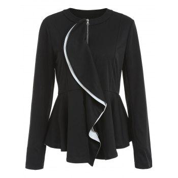 Ruffled Peplum Jacket - BLACK S