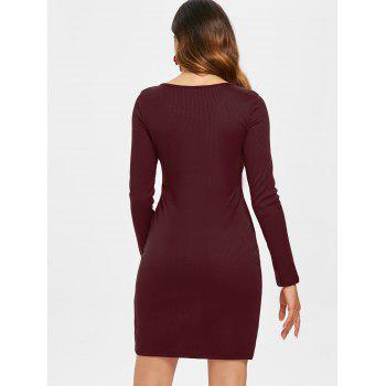 Lace Up Ribbed Dress - RED WINE L