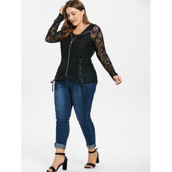 Plus Size Lace Hooded Jacket and Camisole - BLACK 5X
