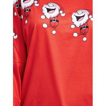 Santa Claus Laugh Printed Cold Shoulder T-shirt - RED 2XL