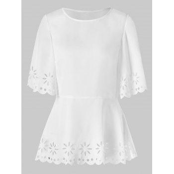 Slit Sleeve Eyelet Peplum Blouse - WHITE 2XL
