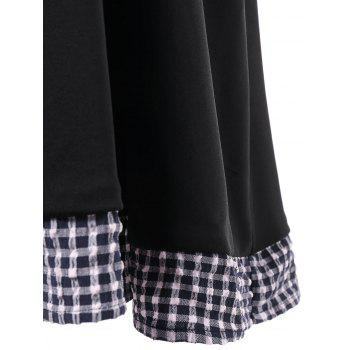 Off Shoulder Checked Fit and Flare Dress - BLACK M