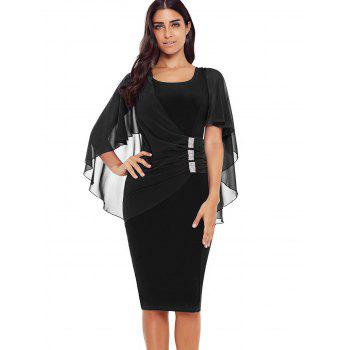 Rhinestone Embellished Capelet Boycon Dress - BLACK XL