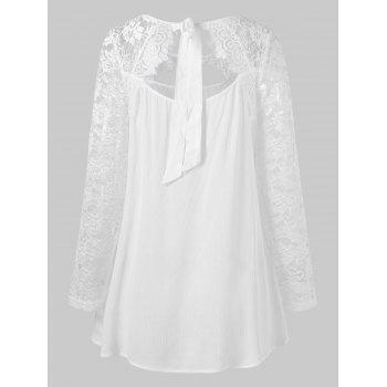 Sheer Lace Cut Out Back Tie Blouse - WHITE M