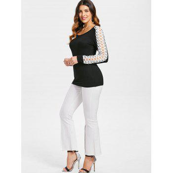 Crochet Panel Long Sleeve T-shirt - BLACK S