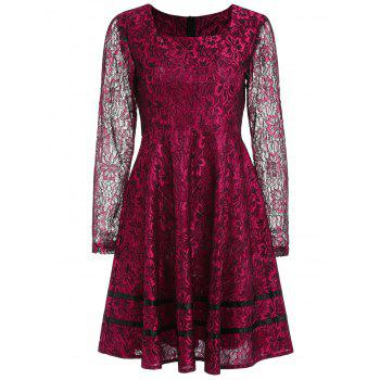 Long Sleeve Lace Flared Dress - RED WINE M