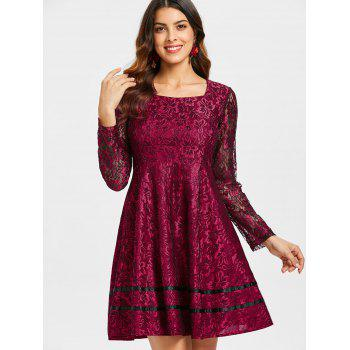 Long Sleeve Lace Flared Dress - RED WINE XL