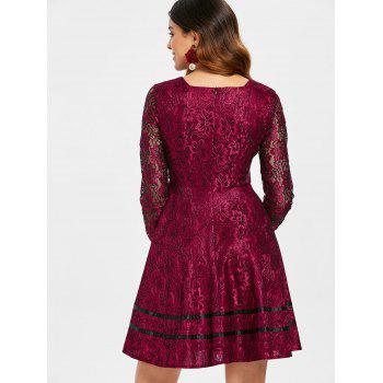 Long Sleeve Lace Flared Dress - RED WINE 2XL