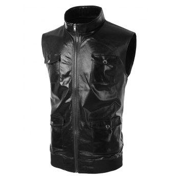 Costume Sleeveless Pockets Shiny Waistcoat - BLACK 2XL